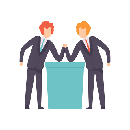 Two Businessmen Arm Wrestling, Business Competition, Rivalry Between Colleagues, Office Workers Challenging Vector Illustration on White Background.
