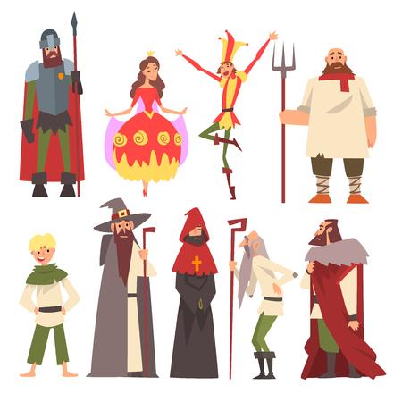 Ensemble de caractères médiévaux européens, chevalier, magicien, roi, princesse, paysan, bouffon, personnes en costumes historiques Illustration vectorielle sur fond blanc.