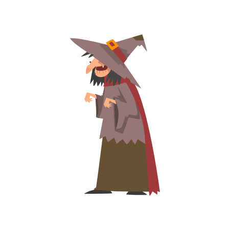 Old Witch in Shabby Clothes and Pointed Hat Vector Illustration on White Background.