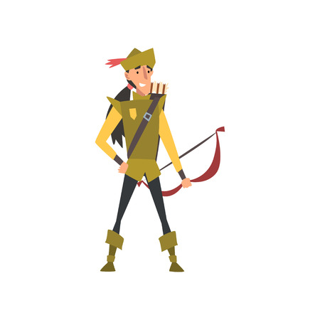 Archer with Bow, European Medieval Character in Green Traditional Costume Vector Illustration