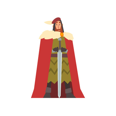 Nobleman in Historical Costume with Sword, European Medieval Character Vector Illustration on White Background.