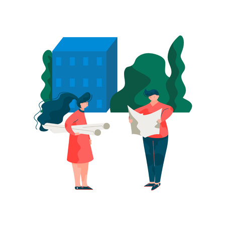 Architects Discussing the Building Project, Male and Female Professional Engineers Characters Vector Illustration on White Background.