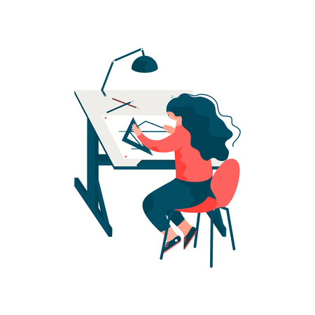 Woman Architect Sitting at Desk Working on Blueprint Building Plan, Female Professional Engineer Character Vector Illustration on White Background.
