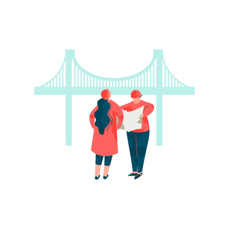 Architects Discussing the Bridge Project, Male and Female Professional Engineers Characters Vector Illustration on White Background.