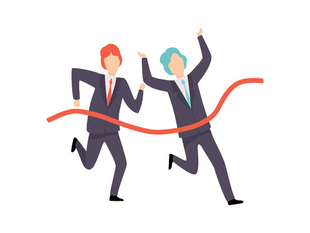 Businessmen Running To Finish Line, Business Competition, Rivalry Between Colleagues, Office Workers Challenging Vector Illustration on White Background.