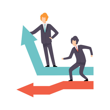 Businessmen Standing on Moving Down and Growing Up Arrows, Business Competition, Rivalry Between Colleagues, Office Workers Challenging Vector Illustration on White Background.
