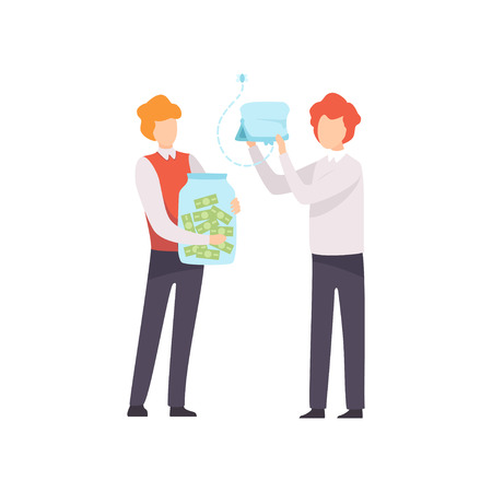 Business Competition, Rivalry Between Colleagues, Office Workers Challenging Vector Illustration on White Background.