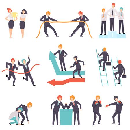 Jeu de compétition d'affaires, rivalité entre collègues, employés de bureau contestant l'illustration vectorielle sur fond blanc.