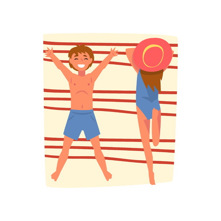 Couple Sunbathing on Beach Towel, Top View of Happy Young Man and Woman Vector Illustration on White Background.