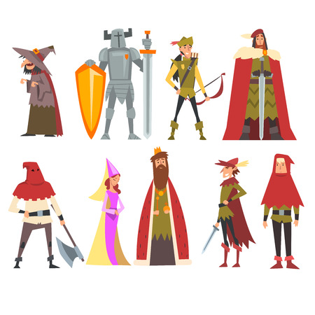 European Medieval Characters Set, Old Witch, Knight, Archer, King, Princess, Executioner, People in Historical Costumes Vector Illustration on White Background. Иллюстрация