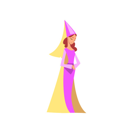 Beautiful Princess Medieval Character in Pink Ddress and Pointed Hat Vector Illustration on White Background.