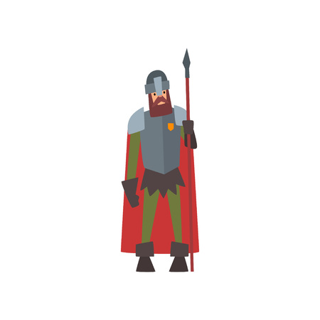 Medieval Armored Knight Warrior Character in Red Cape with Spear Vector Illustration