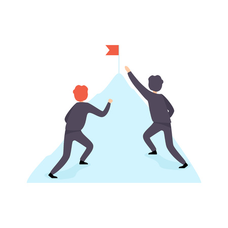 Two Businessmen Climbing the Mountain, Business Competition, Rivalry Between Colleagues, Office Workers Challenging Vector Illustration Illusztráció