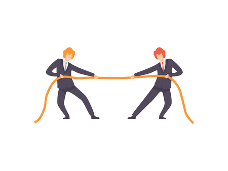 Two Businessmen Pulling Opposite Ends of Rope, Business Competition, Rivalry Between Colleagues, Office Workers Challenging Vector Illustration on White Background.