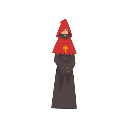 Catholic Priest, European Medieval Character in Black Robe and Red Hood Vector Illustration