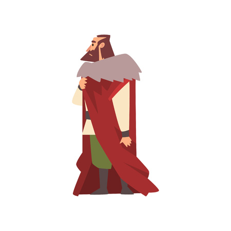 Majestic Nobleman in Historical Costume, European Medieval Character Vector Illustration on White Background. Illustration