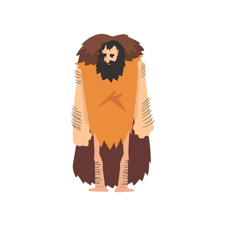 Prehistoric Muscular Bearded Man Wearing Animal Pelt, Primitive Stone Age Caveman Cartoon Character Vector Illustration on White Background.