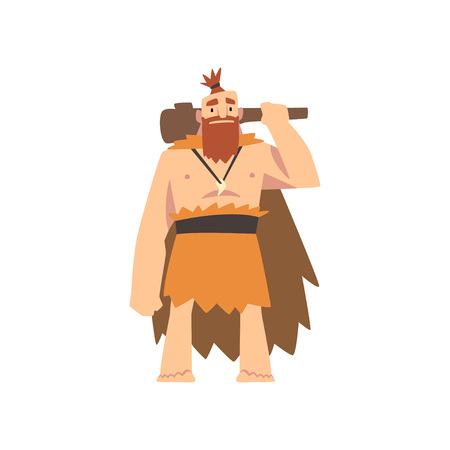 Prehistoric Muscular Bearded Man Wearing Animal Pelt, Primitive Stone Age Caveman Cartoon Character with Club Vector Illustration on White Background. Illustration
