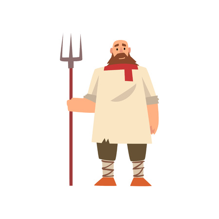 Peasant in Historical Costume with Pitchfork, Medieval Character Vector Illustration on White Background.