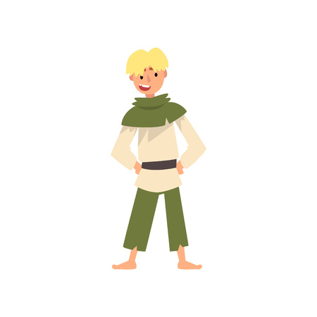 Peasant Boy in Historical Costume, Medieval Character Vector Illustration