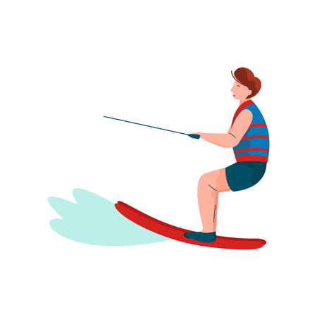 Man Riding Wakeboard, Water Skiing, Guy Relaxing at Summer Vacation, Summer Outdoors Activities Vector Illustration on White Background.