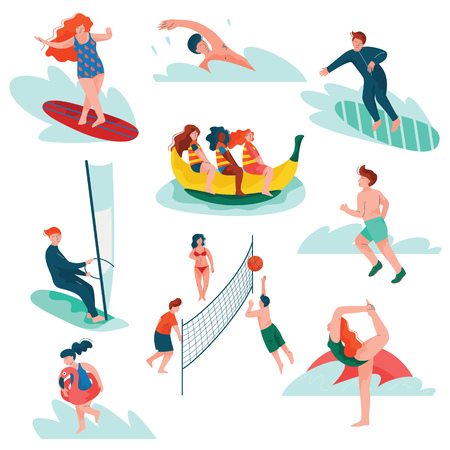 People Relaxing at Summer Vacation Set, Young Man and Woman Surfing, Swimming, Sailing, Doing Sports, Summer Outdoors Activities Vector Illustration on White Background