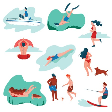 People Relaxing at Summer Vacation Set, Young Man and Woman Surfing, Swimming, Diving, Playing Soccer, Doing Sports, Summer Outdoors Activities Vector Illustration on White Background Ilustração