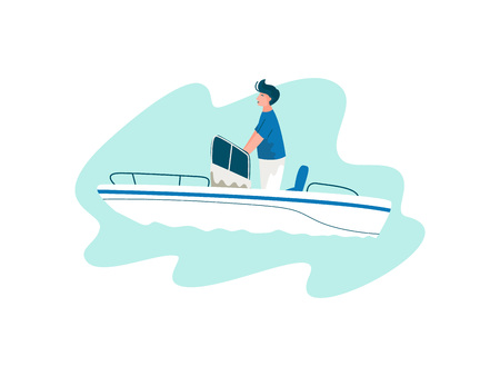 Man Traveling on Yacht at Sea on Summertime, Summer Outdoors Activities Vector Illustration on White Background.
