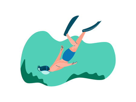 Male Diver with Scuba and Flippers Diving in Sea, Man Doing Sports and Relaxing on Beach, Summer Outdoors Activities Vector Illustration on White Background. Illustration
