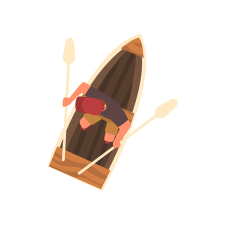 Man in Cap Rowing Wooden Boat, Top View Vector Illustration on White Background.