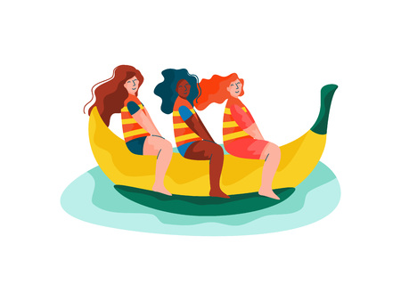 Happy Girls Riding on Banana Boat, Women Relaxing at Summer Vacation, Summer Outdoors Activities Vector Illustration on White Background. 向量圖像