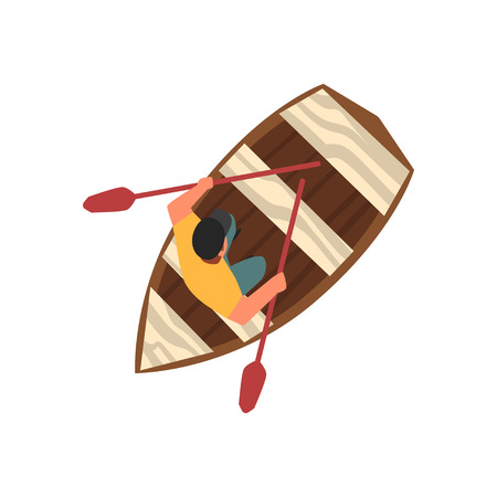 Man in Cap Sitting in Wooden Boat, Top View Vector Illustration on White Background.