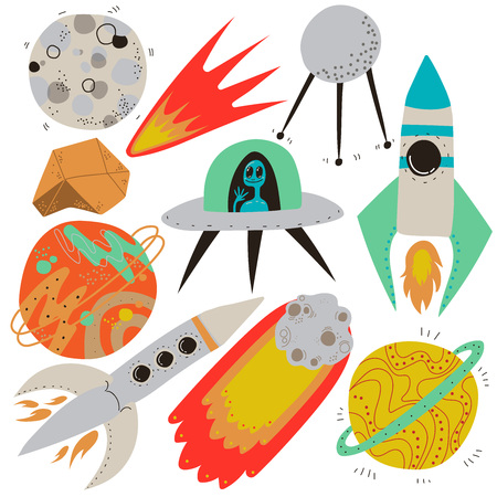 Space Set, Full Moon, Flaming Meteorite, Artificial Earth Satellite, Ufo Spaceship, Rocket, Saturn, Mars Planet, Cosmos Theme Design Elements Cartoon Vector Illustration