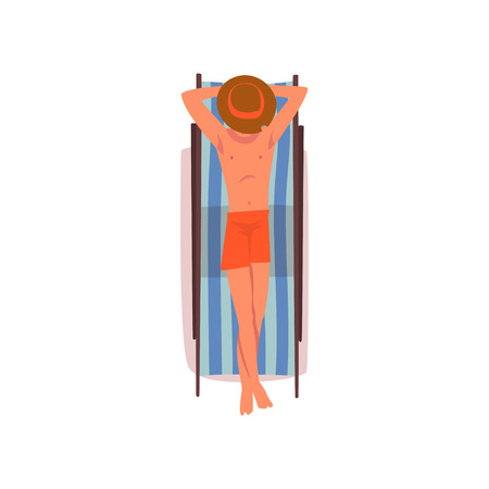 Young Man Sunbathing on Beach Towel, Man in Hat Lying on His Stomach, Top View Vector Illustration on White Background.