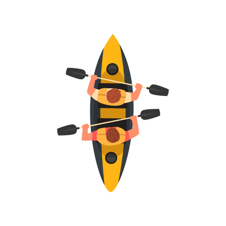 Two Men Paddling Double Kayak, Kayaking Water Sport, Outdoor Activities in Summertime, Top View Vector Illustration on White Background.