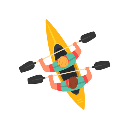 Men Paddling Double Kayak, Kayaking Water Sport, Outdoor Activities in Summertime, Top View Vector Illustration on White Background. Illusztráció