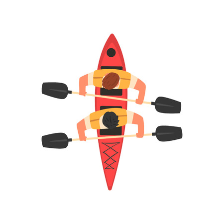 Male Athletes Paddling Double Kayak, Kayaking Water Sport, Outdoor Activities in Summertime, Top View Vector Illustration on White Background. Illustration