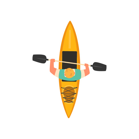 Man Rafting in Kayak in Sea or River, Kayaking Water Sport, Outdoor Activities in Summertime, Top View Vector Illustration on White Background.