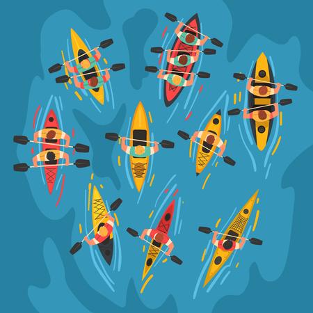 Atleti che remano kayak insieme, sport acquatici in kayak, attività all'aperto in estate, illustrazione vettoriale vista dall'alto, stile cartone animato