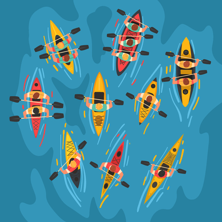 Sportler, die Kajaks paddeln, Kajakfahren, Wassersport, Outdoor-Aktivitäten im Sommer, Draufsicht-Vektor-Illustration, Cartoon-Stil