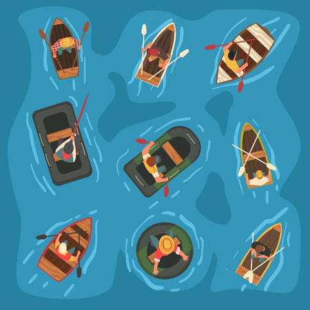 Collection of Men Rowing Wooden and Rubber Inflatable Boats in the Sea, Top View Vector Illustration, Cartoon Style