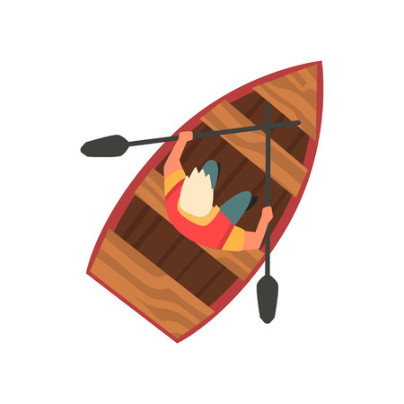 Man Floating on Wooden Boat, Top View Vector Illustration on White Background. on White Background.
