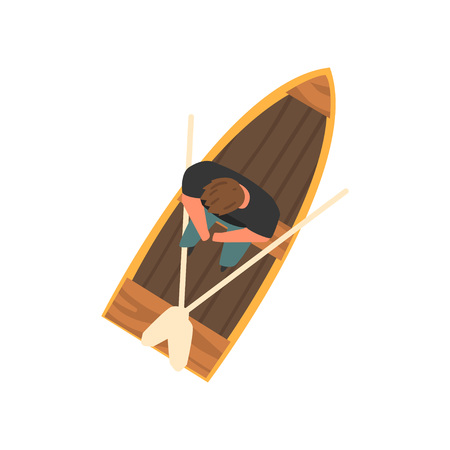 Man Sitting in Wooden Boat, Top View Vector Illustration Ilustrace