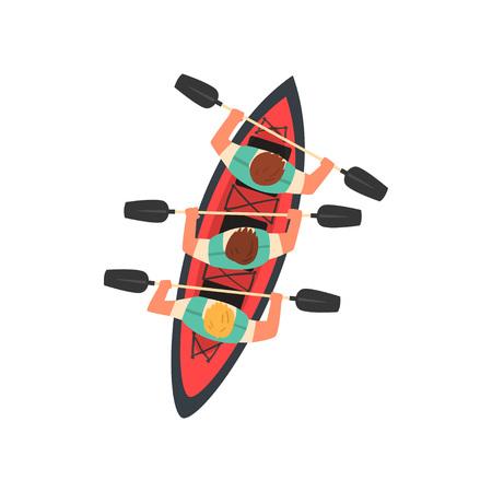 Three Men Paddling Kayak, Kayaking Water Sport, Outdoor Activities in Summertime, Top View Vector Illustration