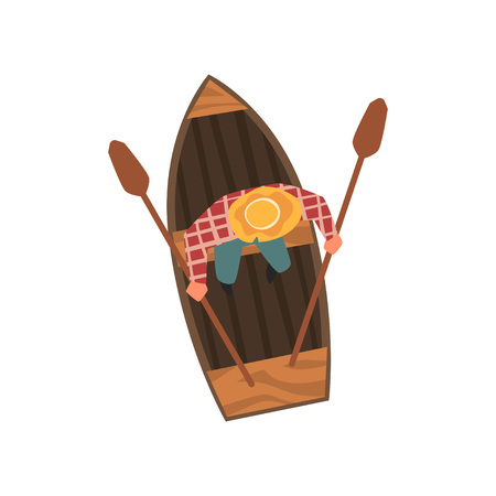 Man in Hat Rowing Wooden Boat, Top View Vector Illustration