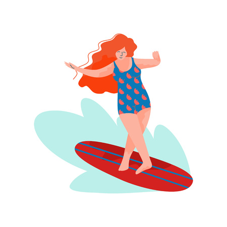 Beautiful Woman Riding Surfboard, Girl Doing Sports and Relaxing on Beach, Summer Outdoors Activities Vector Illustration on White Background.