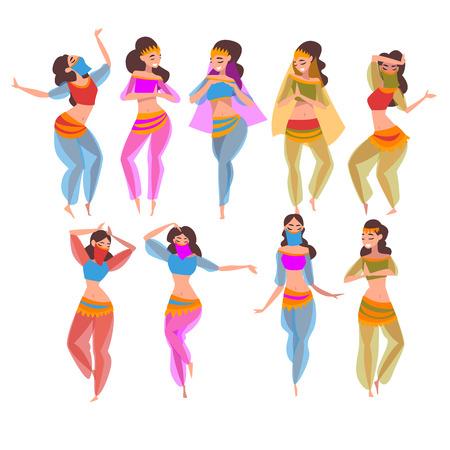 Hermosas chicas orientales bailando danza del vientre, personajes de bailarines indios o árabes en traje tradicional y velo ilustración vectorial
