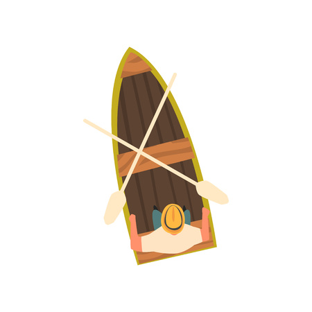 Man in Hat in Wooden Boat, Top View Vector Illustration on White Background.