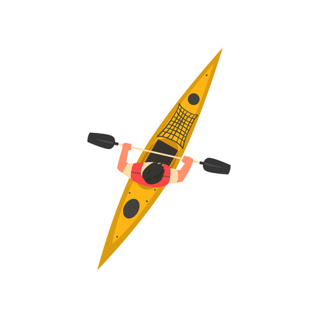 Man Rafting in Kayak, Kayaking Water Sport, Outdoor Activities in Summertime, Top View Vector Illustration on White Background. Illustration