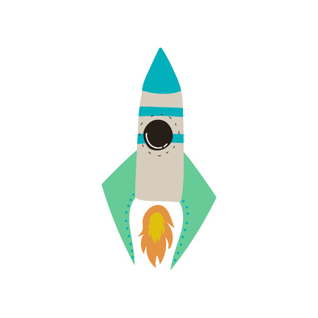 Space Rocket Launch, Cosmos Theme Design Element Cartoon Vector Illustration